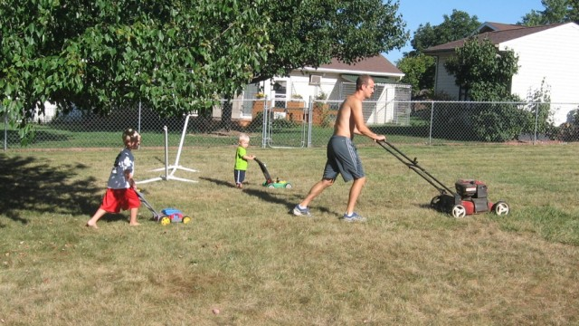 Joel, Asher, and Eli Mowing.  (c) 2014 Lambchow.com